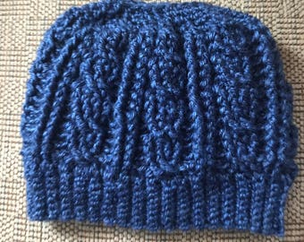 Cable Messy Bun Hat, Pony Tail Hat, Crochet Adult hat, Man Bun Hat, Cable Ski Hat, Hat with Hole, Winter Hat, Blue Hat, Adult Winter Hat