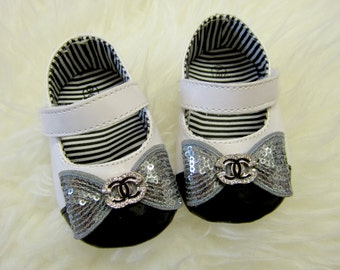 Black and White Leather Baby Girl Shoes