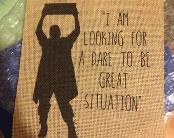 """Say Anything - Lloyd Dobler - """"Looking for a dare to be great situation"""" - Movie - Burlap Print - 8.5x11"""