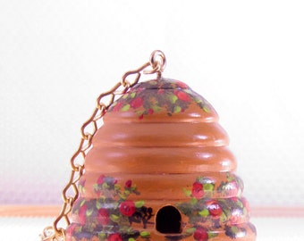 Red Rose and Brown Beehive Birdhouse , Hand Painted , Home Decoration