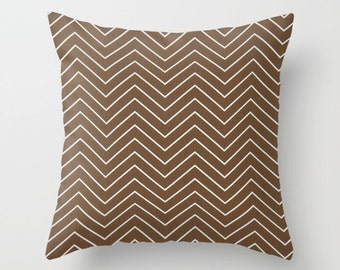 Chevron Pillow cover brown Pillow Cover Decorative Pillow Cover Striped Pillows Size Choice