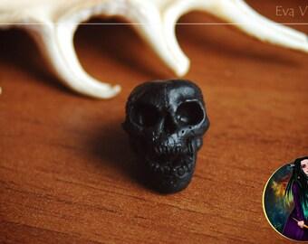 black Skull Dreadlock Bead, dreadlock jewelry, dread bead, loc bead