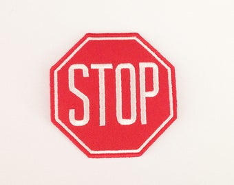 Stop Sign patch Red Applique patch