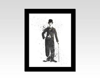 Charlie Chaplin inspired black and white watercolour effect print