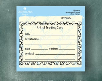 ATC ACEO Stamp Horizontal Artist Trading  Card Back rubber clear photopolymer