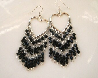 Long Black Crystal Chandelier Earrings Black Earrings