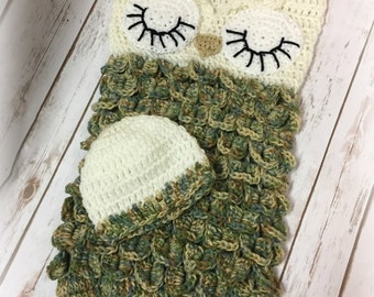 Crochet Owl Cocoon and Hat, Owl Cocoon, Owl Hat, Crochet Cocoon, Baby Cocoon, Crochet, Handmade, Baby Owl Cocoon, Baby Owl Hat, Sleepy Owl,