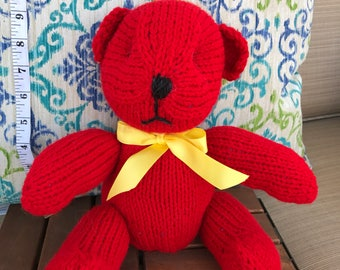 Hand Knitted Res Teddy Bear