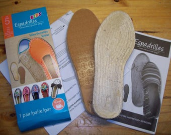 Kids Childrens Espadrilles Shoe Soles Left and Right Jute with Pattern Size 5