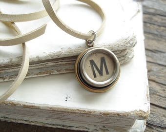 Typewriter Necklace. Personalized Letter M Necklace. Typewriter Jewelry. Vintage Typewriter Key Necklace. Initial Necklace. Upcycled Jewelry