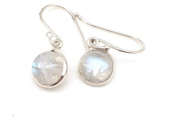 Sterling Silver and Round Moonstone Dangle Earrings