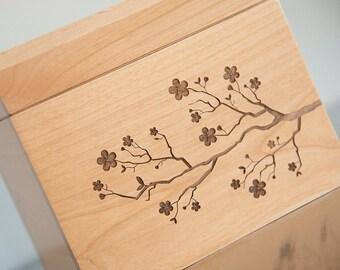 Personalized Recipe Box - Cherry Blossoms