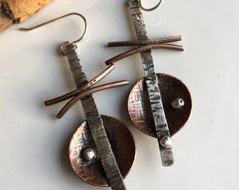 50% OFF Metalwork Earrings, Unique Earrings, Copper and Sterling, Artisan Earrings, East Asian Inspired, Soldered Earrings, Statement