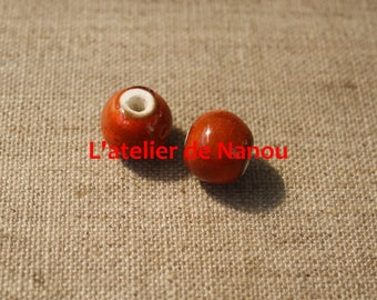 ceramic bead handmade orange 10 mm