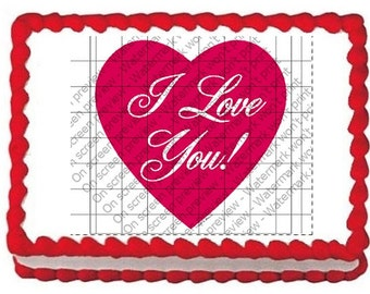 """Edible Image """"I Love You"""" Valentines"""