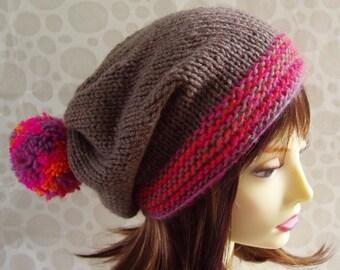KNITTING PATTERN Slouchy Beanie Handmade Knit Gift for Her Instant Digital Download Pompom Sister Mom Birthday Gift Boho Best Selling MARTA