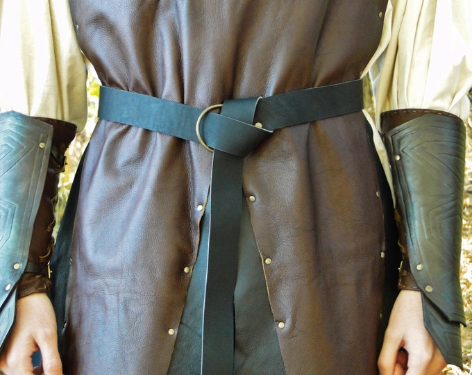 """Medieval Leather Ring Belts, 60"""" Long -  Black or Brown Leather - Nickel or Brass Hardware"""