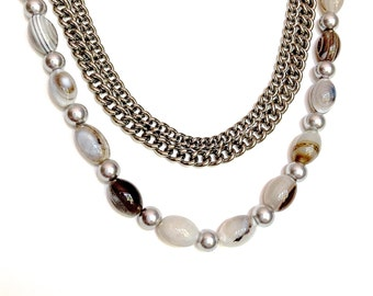 Chain stone necklace, long hand beaded, 41 inch, opera length chain, gray silver jewelry  pearls and agates