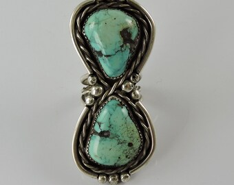 Vintage Navajo Statement Ring Turquoise and Silver