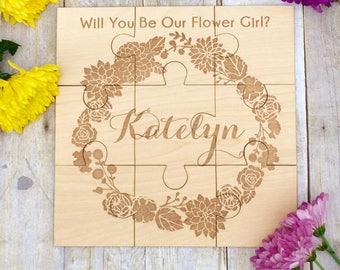 Asking Flower Girl Custom Wood Puzzle Girls Wedding Gift Flower Girl Ideas Wedding Flower Girl Gift Personalized Girls Puzzle Flower Puzzle