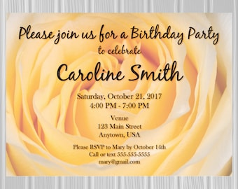 Adult Birthday Party Invitation | Yellow Rose Photo Background | Custom Invitation | *DIGITAL FILE*