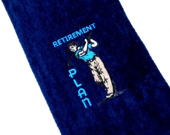 Golf towel, funny golf gift, retirement gift, embroidered towel, golf gift for him, custom golf, personalize golf, monogram towel, boss gift