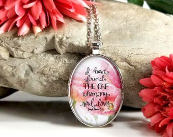 I Have Found The One Whom My Soul Loves-Large Oval- Glass Bubble Pendant Necklace