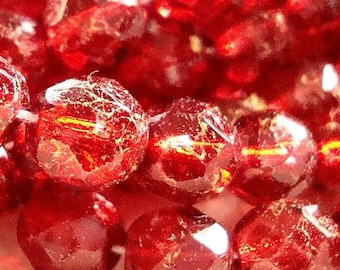 Czech Glass Beads 8mm Ruby Red Sparkled Gold Faceted Rounds - 10 Pieces