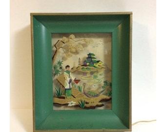 Vintage Reverse Glass Painted Asian Scene Framed Light