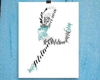 Personalized Dance Gift, Jazz dancer, Personalized Word Art Typography, Dance Recital Gift