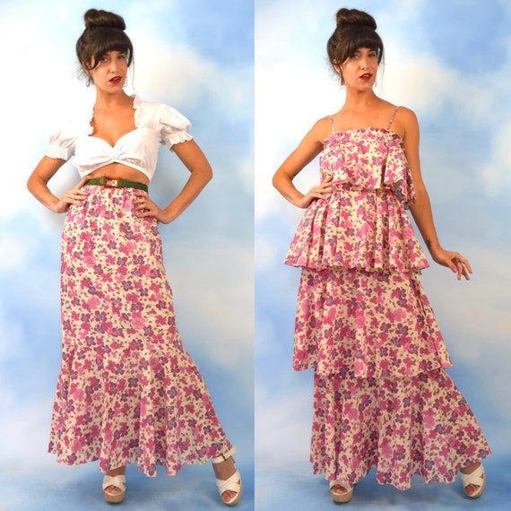 Vintage 60s 70s Purple Pansy Tiered Ruffled Dress and Skirt 2 Piece Set