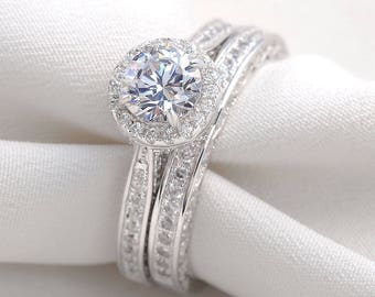 Round White CZ 925 Sterling Silver Gold Plated Wedding Engagement Ring
