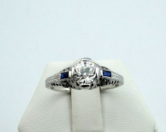 Stunning Vintage Victorian Antique Diamond and Sapphire 18K White Gold Filigree Engagement/Wedding Ring  #VCTDMSP-GR4