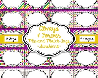 Tags, Labels, Frames-Sunshine Pack-Yellow, Pink, Green, Purple-Instant Download