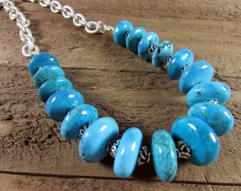 Turquoise & Matte Silver Necklace, Blue Turquoise Necklace, Gemstone Necklace, Silver Jewelry,