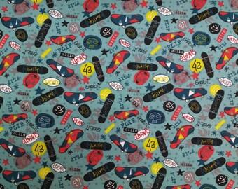 Kids fabric - the Skateboards. Fabric width 160cm