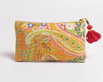 Yellow pouch, zipper purse, make up or cosmetic bag, utility pouch, kantha pouch, 5X9 inches