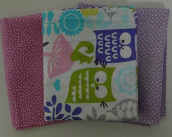 set of 3 owls patchwork 54cmx45cm Miller fabrics