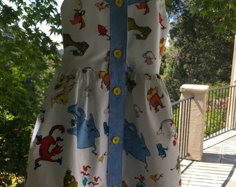 Handmade Girl's Dress Red, Light Blue and White, Dr. Suess, Front Closure Sundress,Summer Dress, Play Dress, Button Front