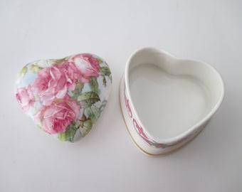 Vintage Heart Trinket Box - pink roses, bone china, made in England