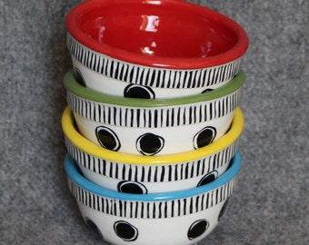 Mini Bowls, Teacher Appreciation, Polka Dots, Stripes, Food prep bowls, dip bowls, jewelry dish, wedding, Christmas, bright fun colors