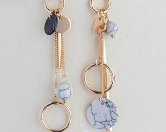 Mismatched long boho earrings, dainty earrings for her, dangle disc bar asymmetrical earrings golden boho earrings, gift for her