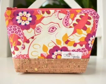 Zipped Pouch - Octopus Garden, Cork - makeup bag, cosmetic bag, toiletry bag, accessories bag, small storage bag, small zipper pouch