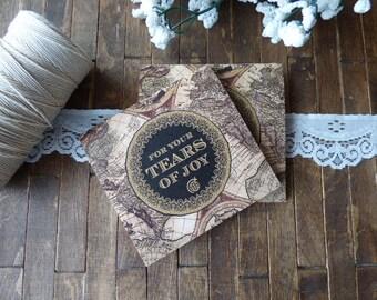 20 Tears of Joy Tissue Packs, Wedding Tissues, for tears of joy, happy Tears Packs, Old World Map Design,Customized tissue packs