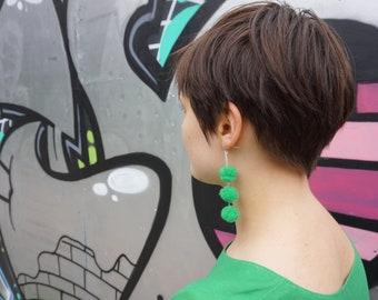 Long Pom Pom Earrings