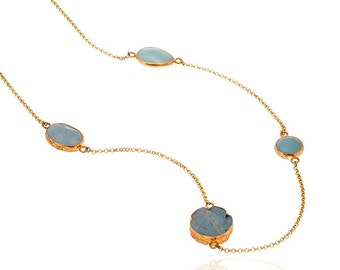 Long chain necklace with Aventurine Gemstones, Gold Vermeil over Sterling silver, long necklace, long chain necklace, long blue neklace,