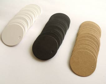10 tags labels round cardboard 3.5 cm