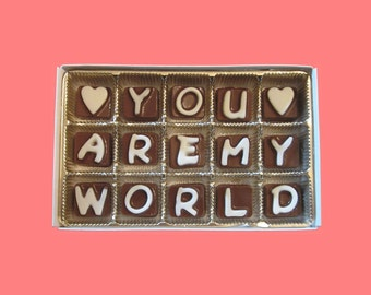 Long Distance Relationship Gift for Him Army Boyfriend Gift for Husband from Wife I Love You Are My World Cubic Chocolate Letters