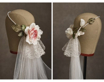 Blush pink flower crown, vintage wedding veil, bridal circlet, cathedral length veil, silk floral crown, ivory wedding headpiece - Primrose