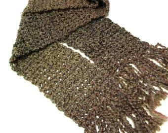 Brown Crochet Scarf, Super, Extra Long, 90 inches, Chunky, Striped, Oversize, Mans Birthday Gift, Neckscarf, Boho, New, Steampunk, Handmade